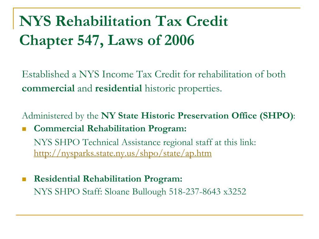 NYS Rehabilitation Tax Credit
