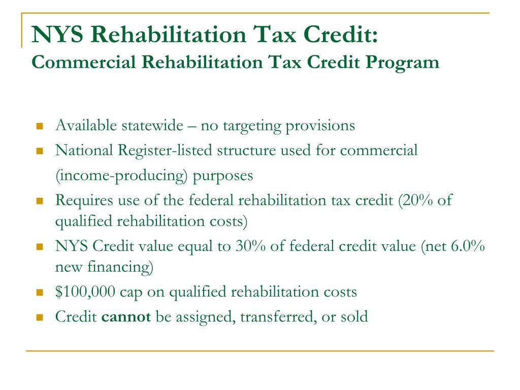 NYS Rehabilitation Tax Credit: