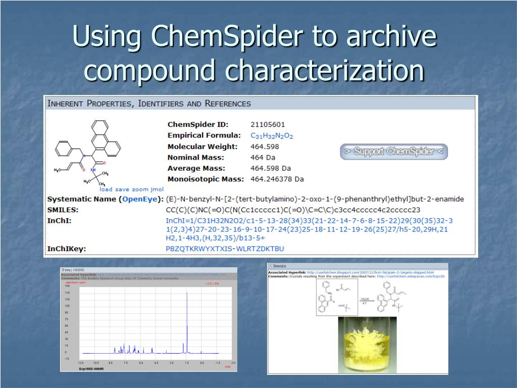 Using ChemSpider to archive compound characterization