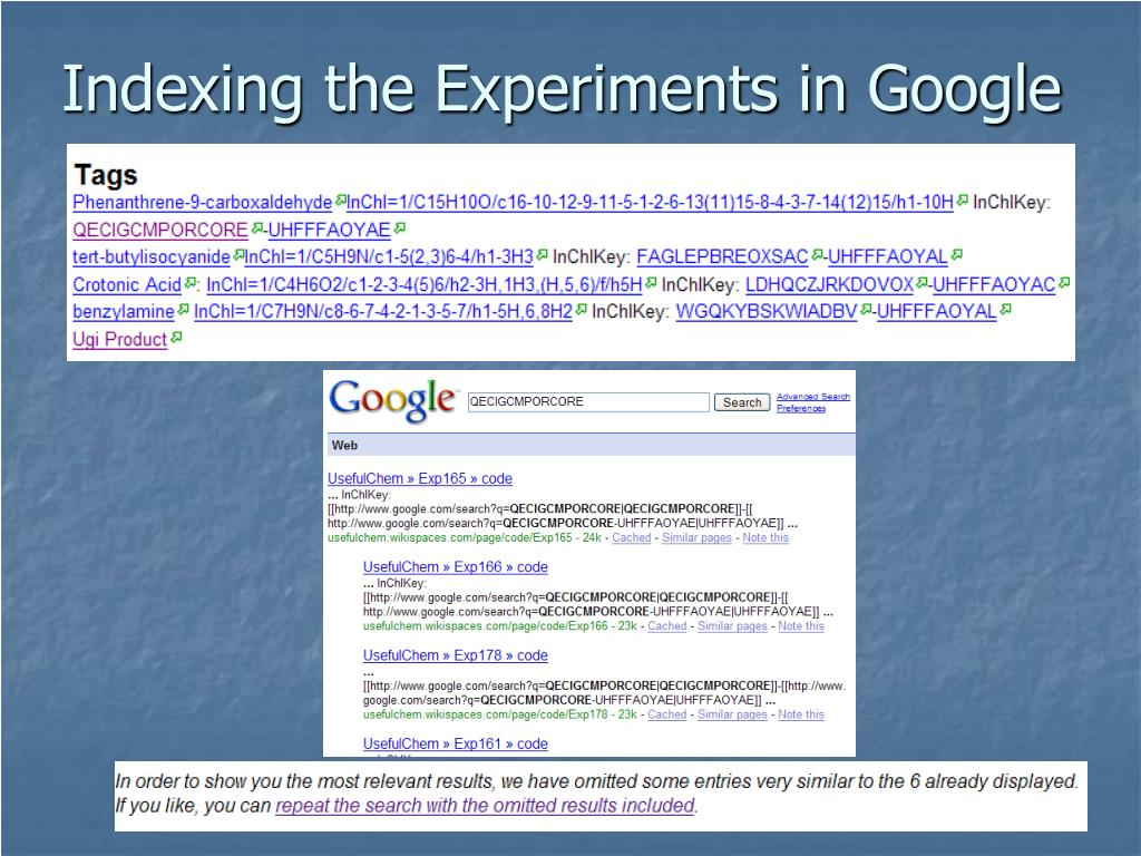 Indexing the Experiments in Google