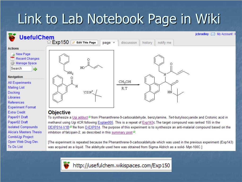 Link to Lab Notebook Page in Wiki