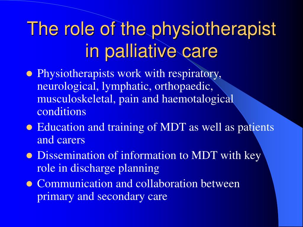 the role of palliative care Palliative care – role overlap in 2009, the european association of palliative  maidenhead: open university press, 2004 1–12 [there is a 2nd edn from.