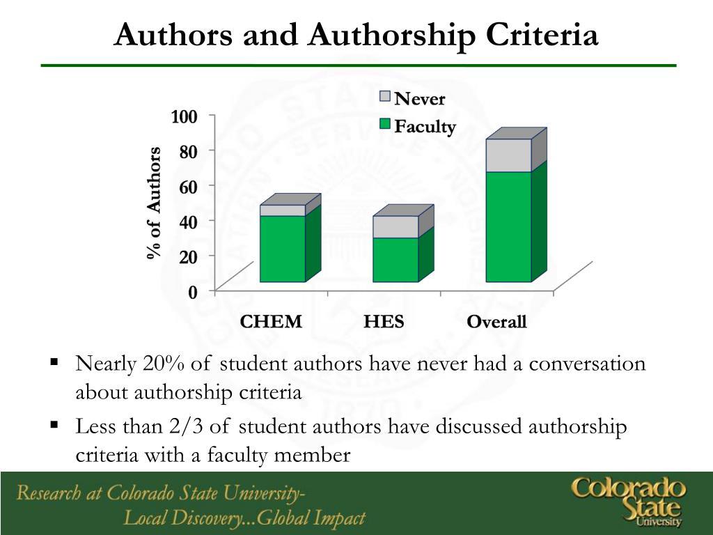 Authors and Authorship Criteria