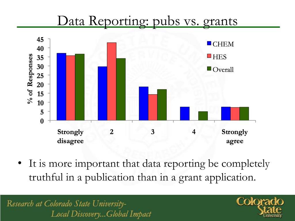 Data Reporting: pubs vs. grants