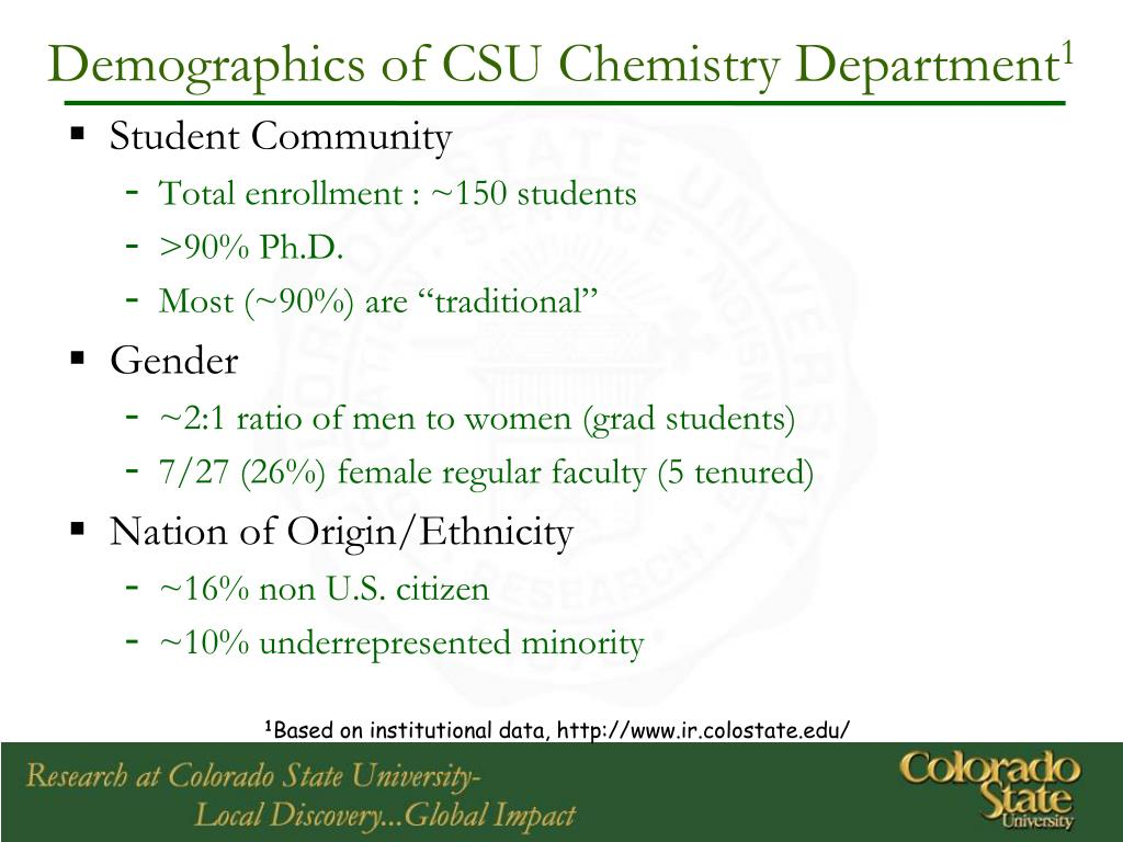 Demographics of CSU Chemistry Department
