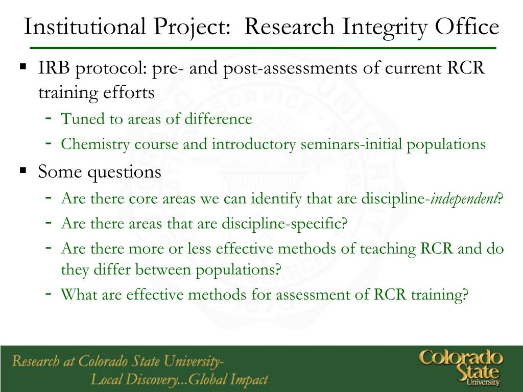 Institutional Project:  Research Integrity Office