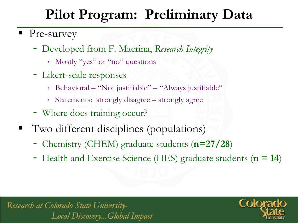 Pilot Program:  Preliminary Data