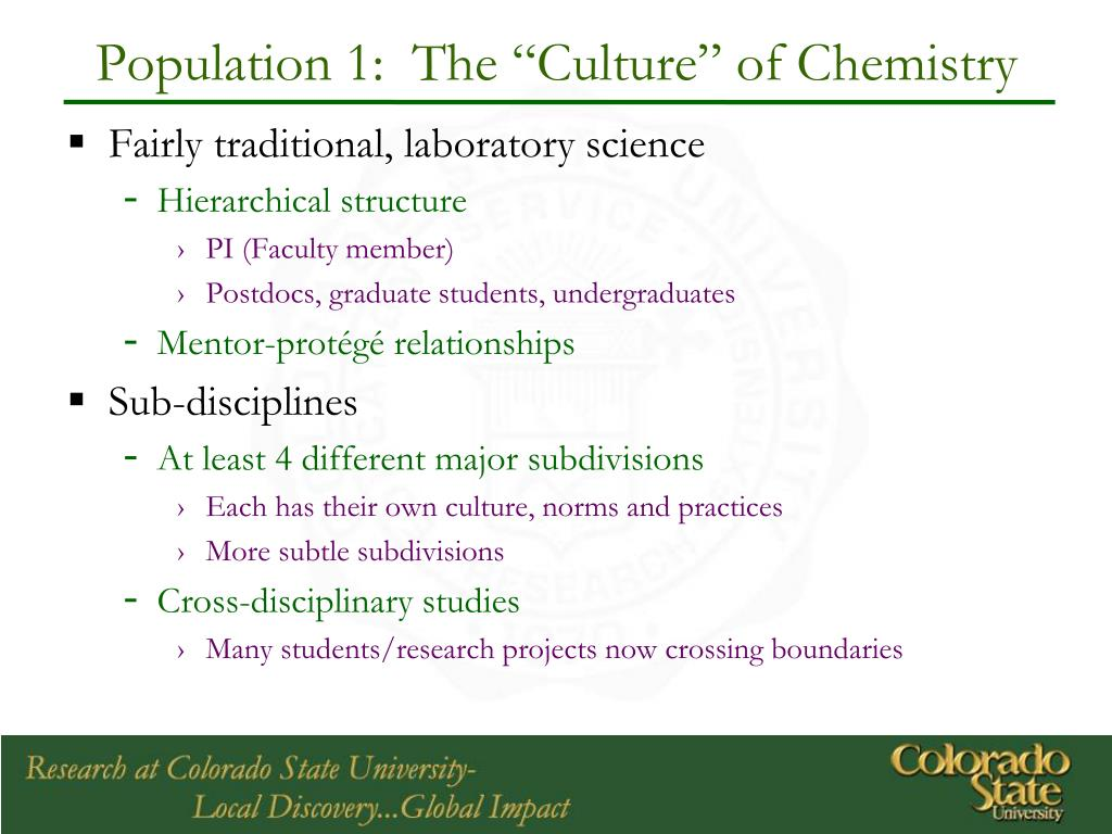 "Population 1:  The ""Culture"" of Chemistry"
