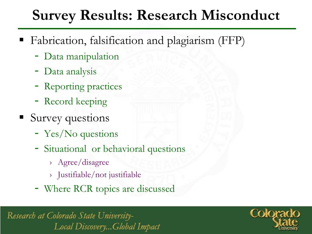 Survey Results: Research Misconduct