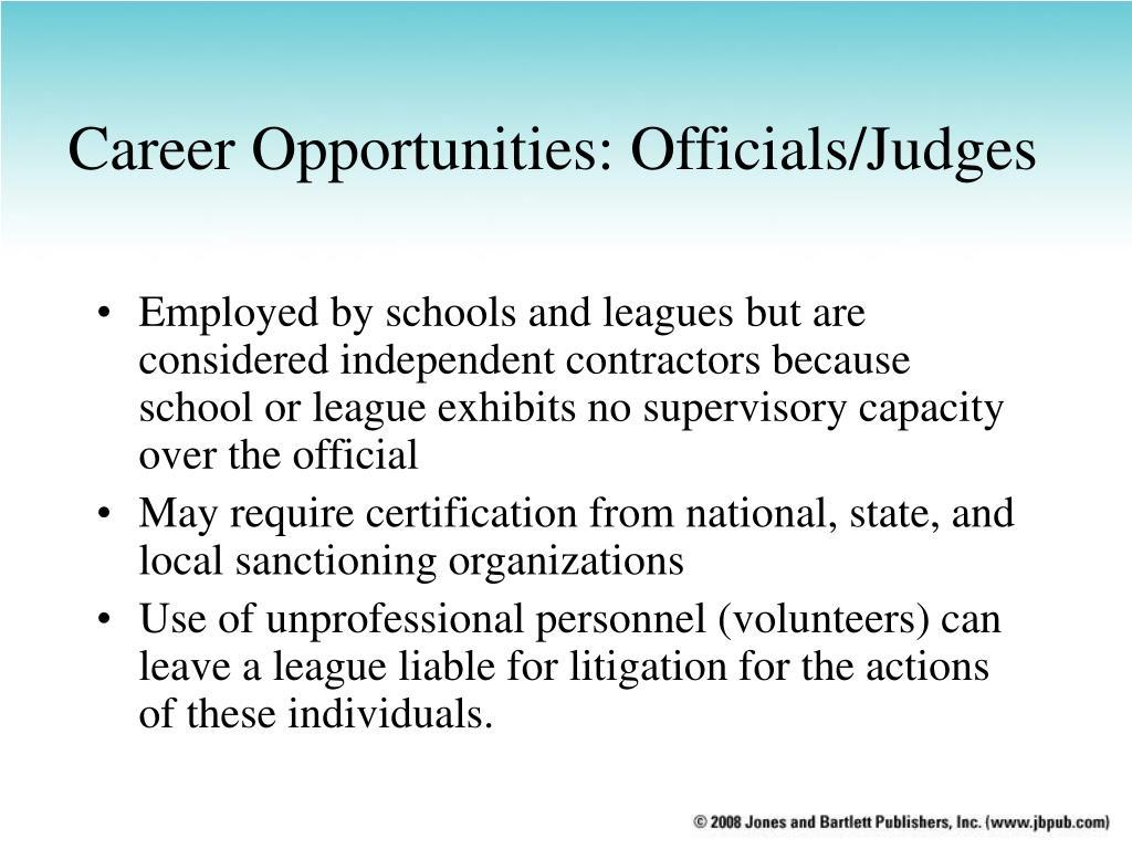 Career Opportunities: Officials/Judges