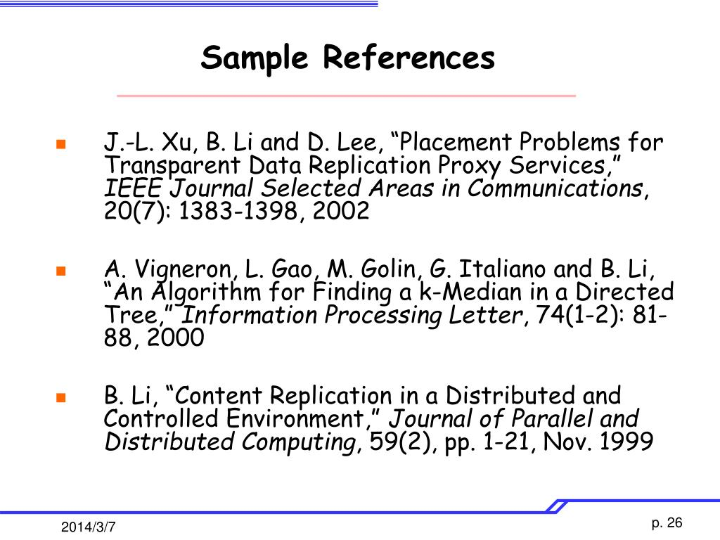 Sample References