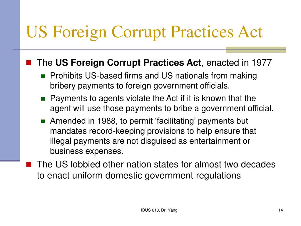 facilitating payments or speed money under the terms of the foreign corrupt practices act