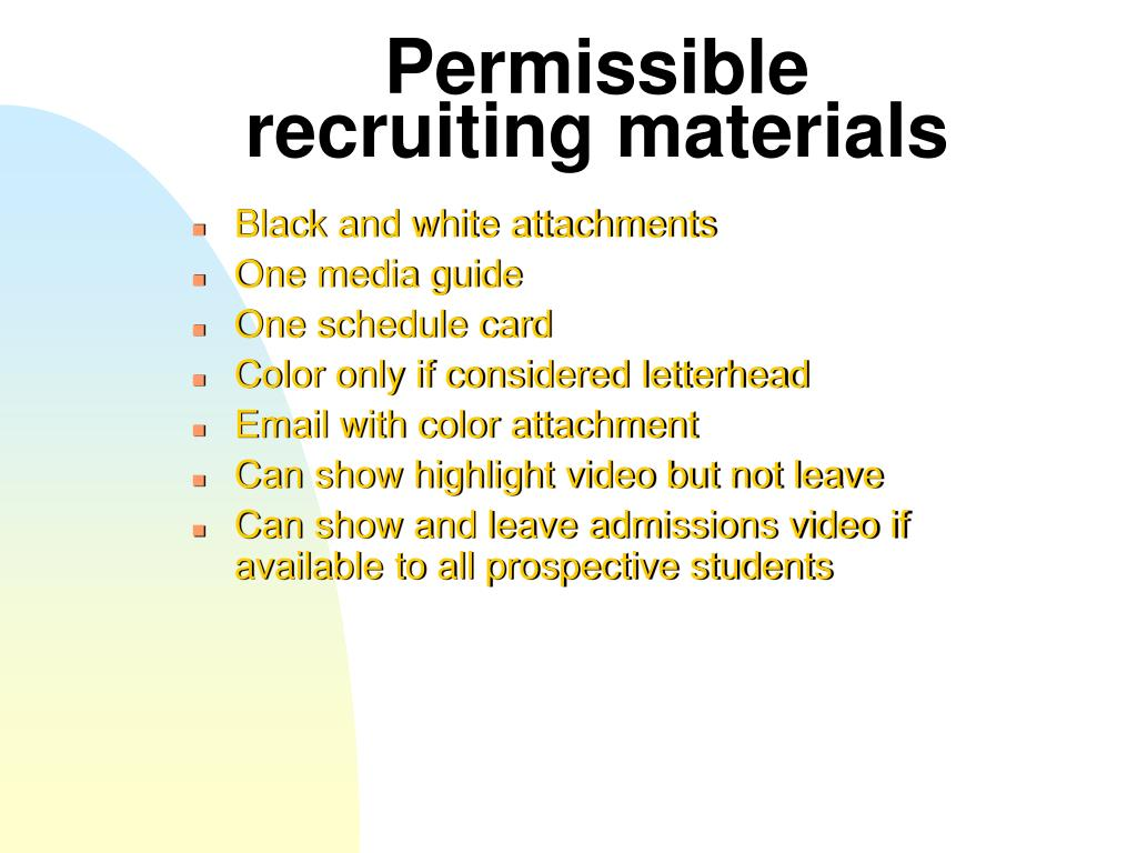 Permissible recruiting materials