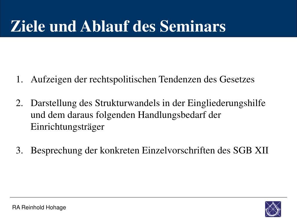 Ziele und Ablauf des Seminars