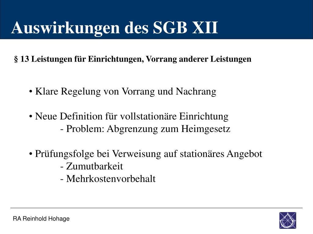 Auswirkungen des SGB XII