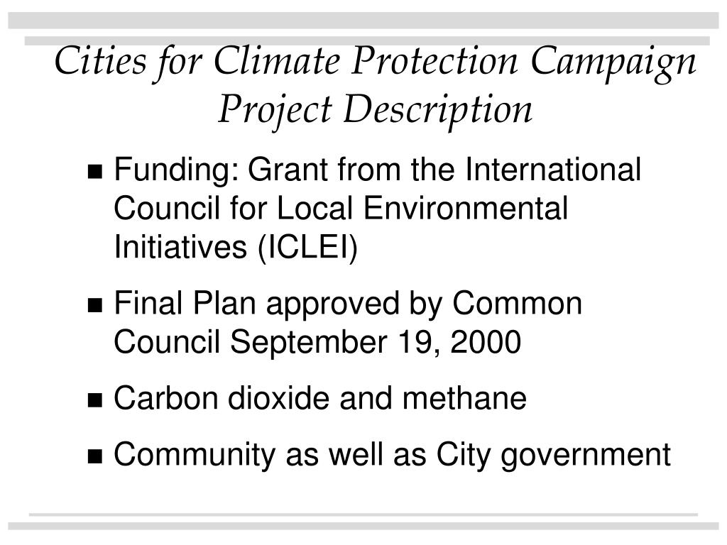 Cities for Climate Protection Campaign Project Description