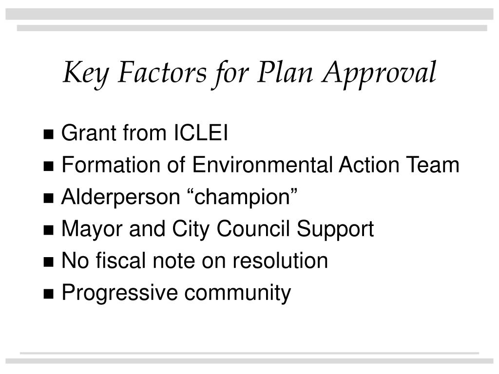 Key Factors for Plan Approval