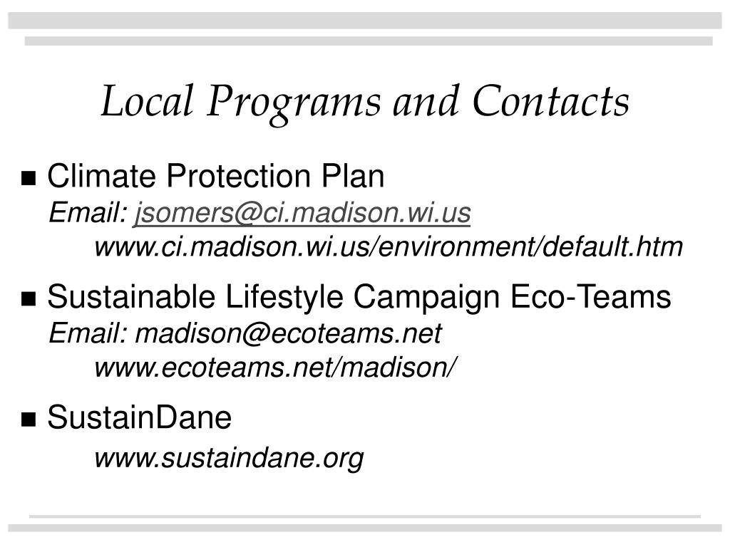 Local Programs and Contacts