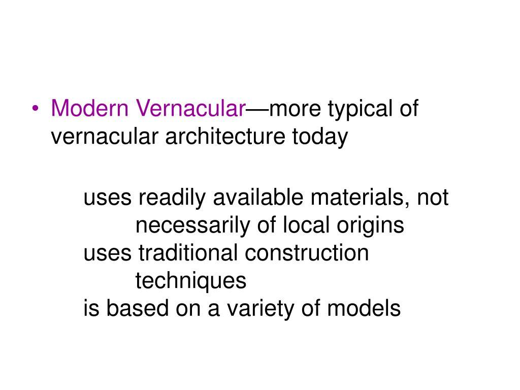 Modern Vernacular