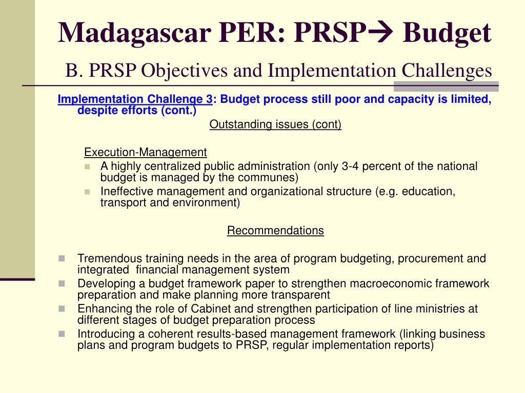 Madagascar PER: PRSP