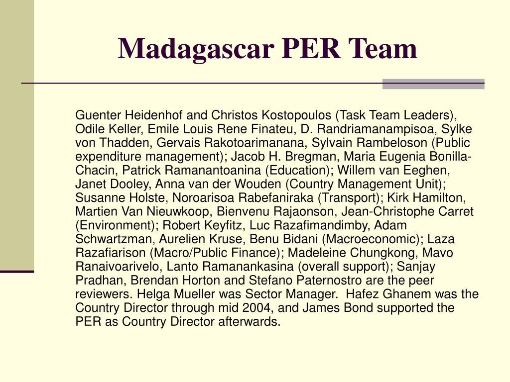 Madagascar PER Team