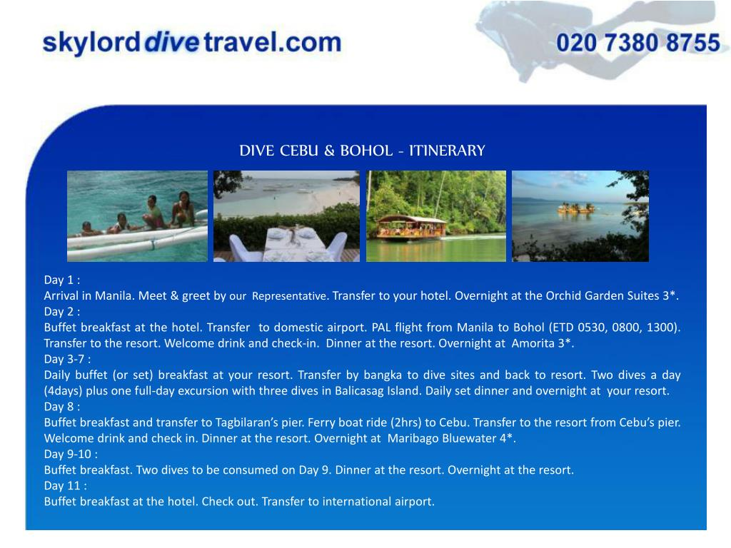 DIVE CEBU & BOHOL - ITINERARY