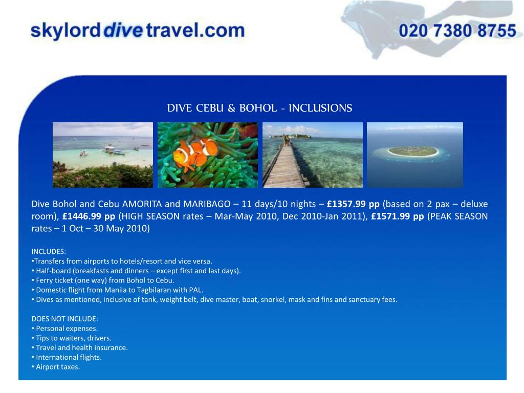 DIVE CEBU & BOHOL - INCLUSIONS
