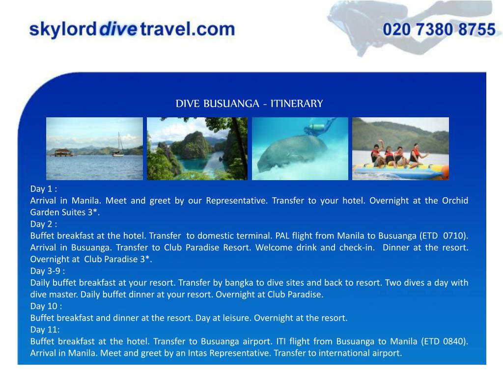 DIVE BUSUANGA - ITINERARY
