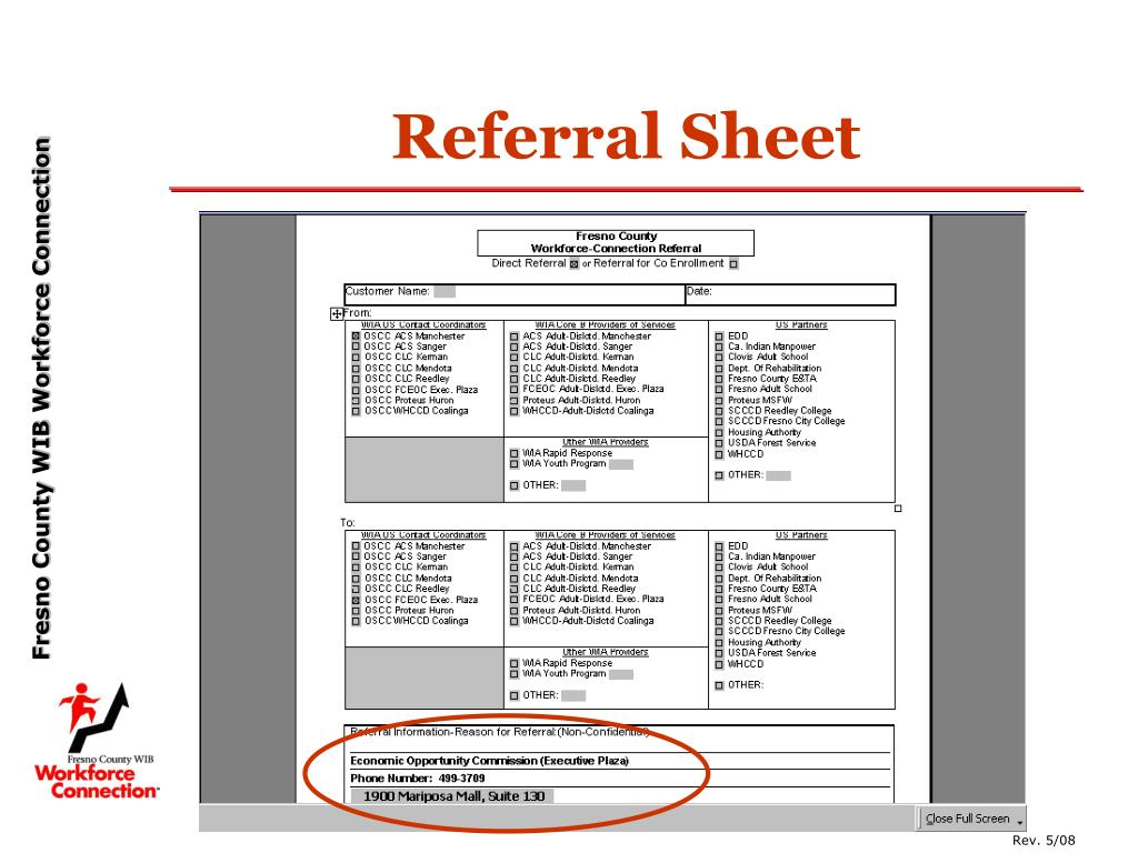 Referral Sheet