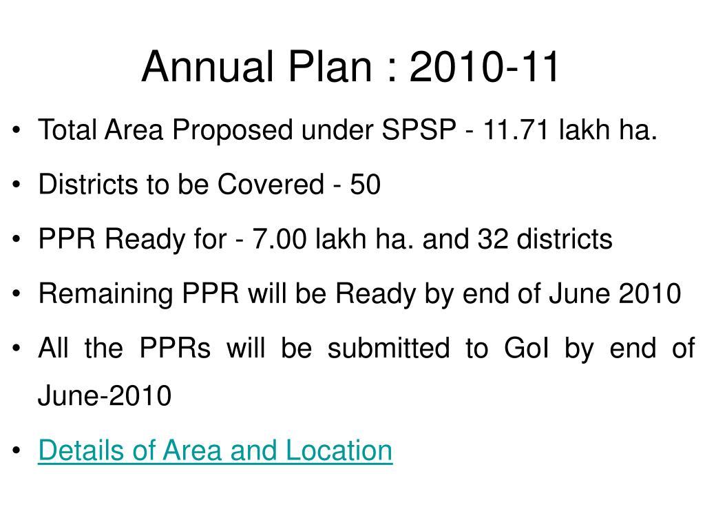 Annual Plan : 2010-11