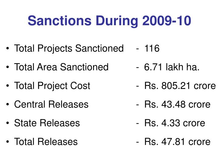 Sanctions during 2009 10