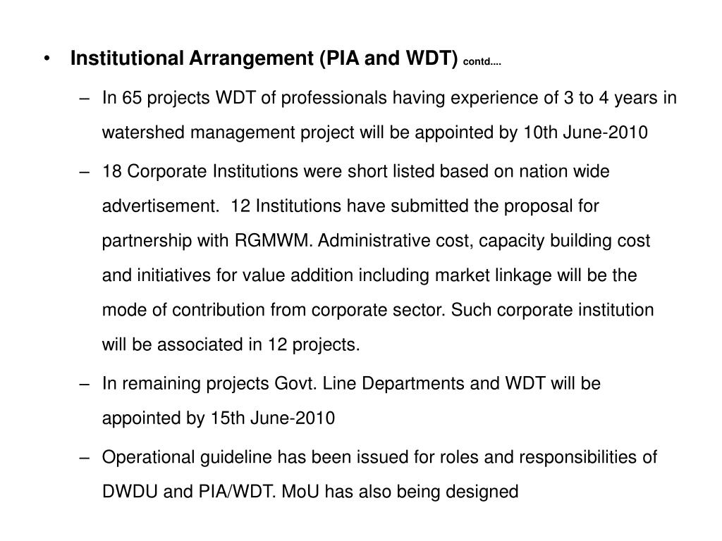 Institutional Arrangement (PIA and WDT)