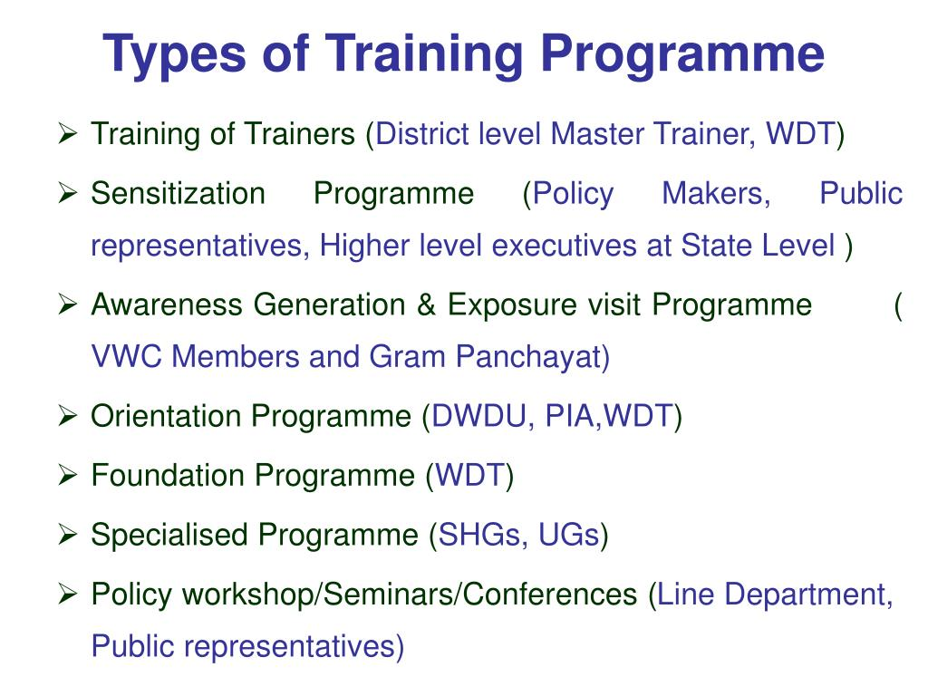 Types of Training Programme