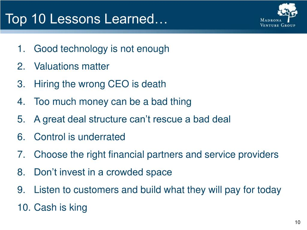 Top 10 Lessons Learned…