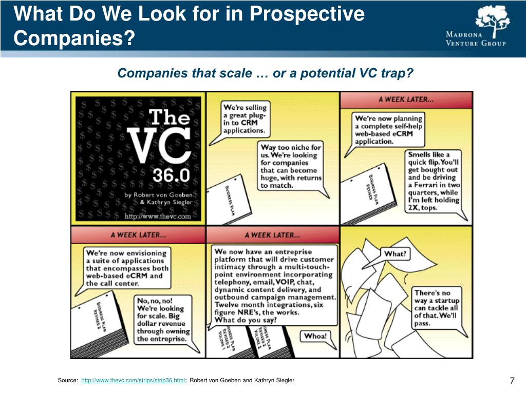 What Do We Look for in Prospective Companies?