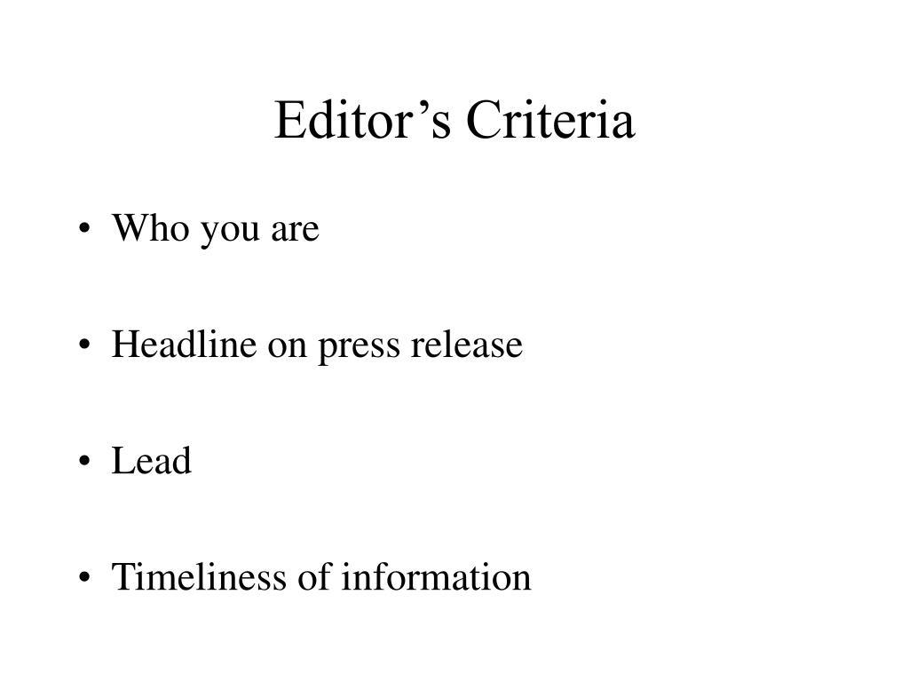 Editor's Criteria