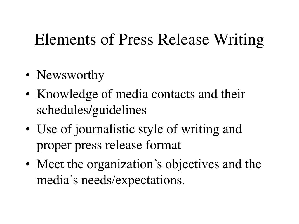 Elements of Press Release Writing