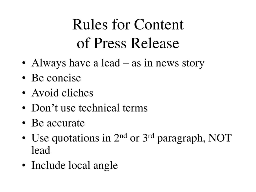 Rules for Content