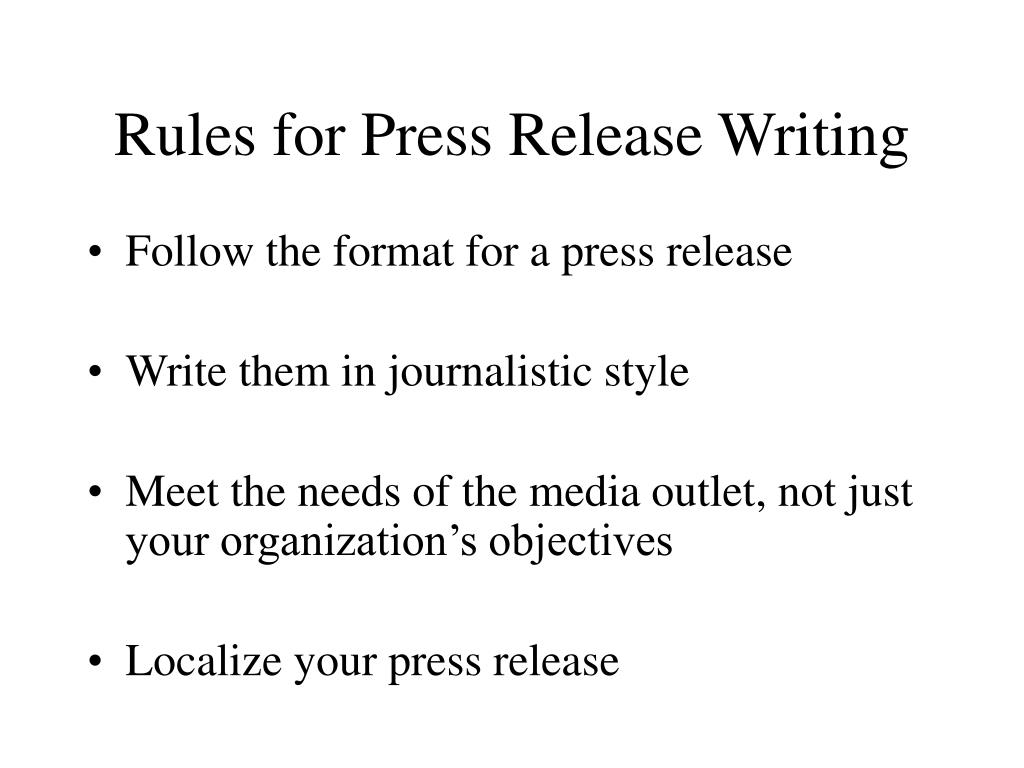Rules for Press Release Writing