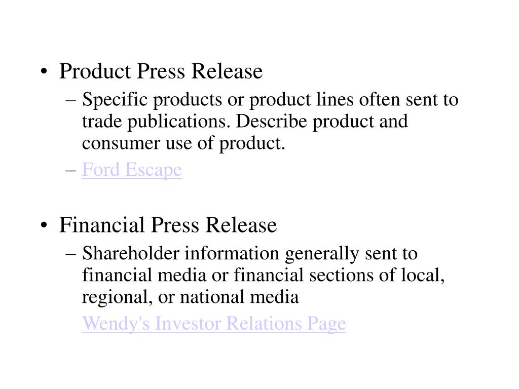 Product Press Release