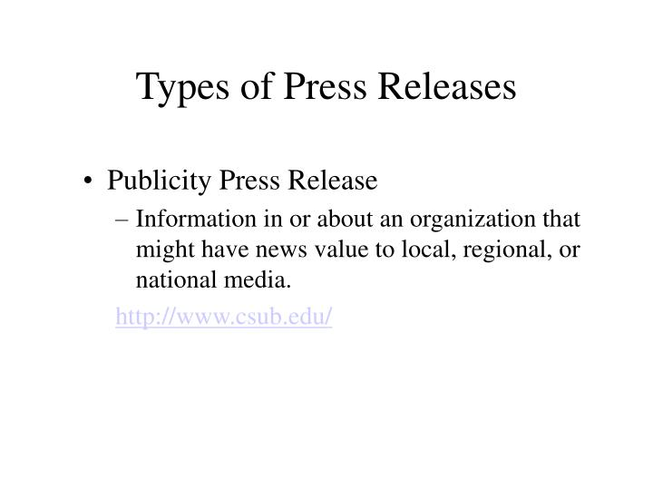 Types of press releases l.jpg