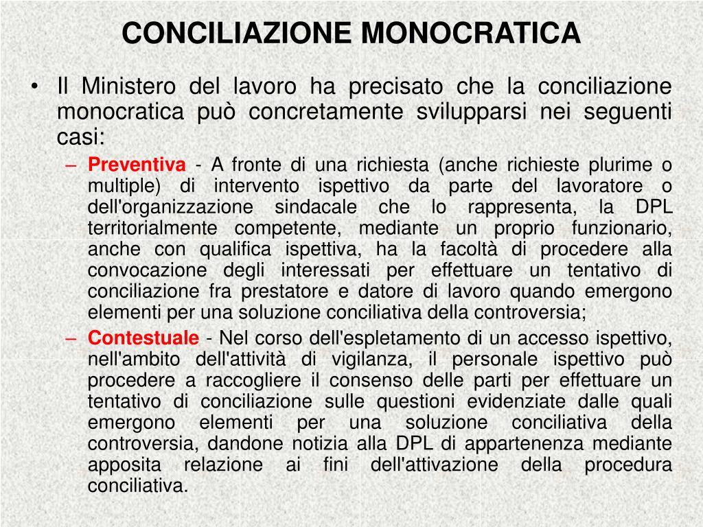 CONCILIAZIONE MONOCRATICA