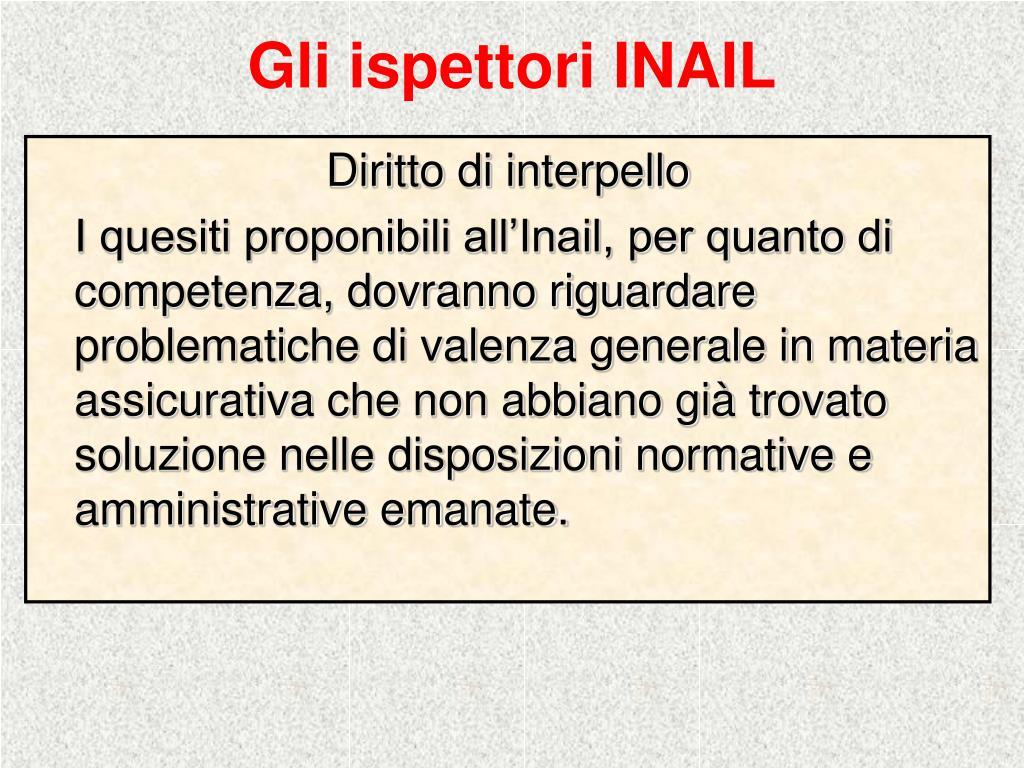 Gli ispettori INAIL