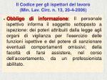 il codice per gli ispettori del lavoro min lav circ n 13 20 4 200671