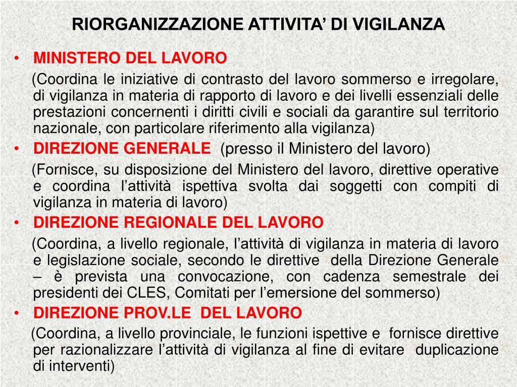 RIORGANIZZAZIONE ATTIVITA' DI VIGILANZA