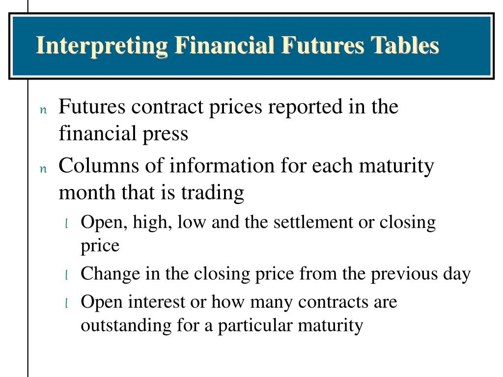 Interpreting Financial Futures Tables