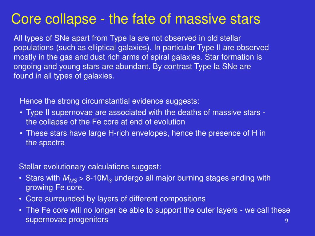Core collapse - the fate of massive stars