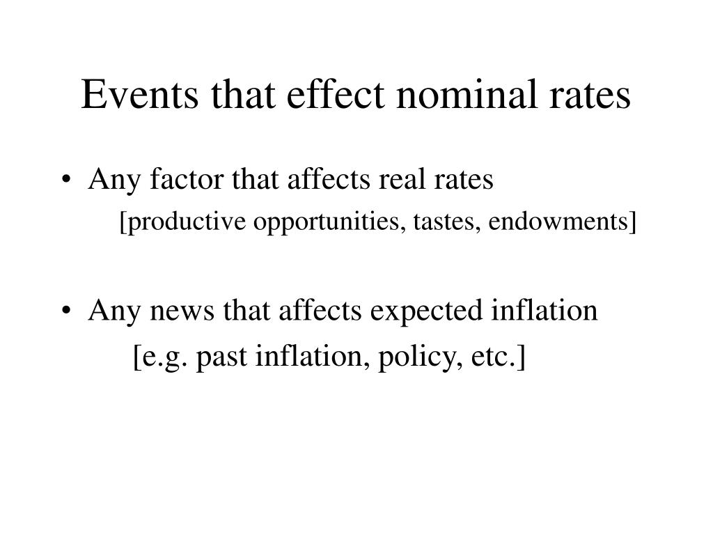 Events that effect nominal rates
