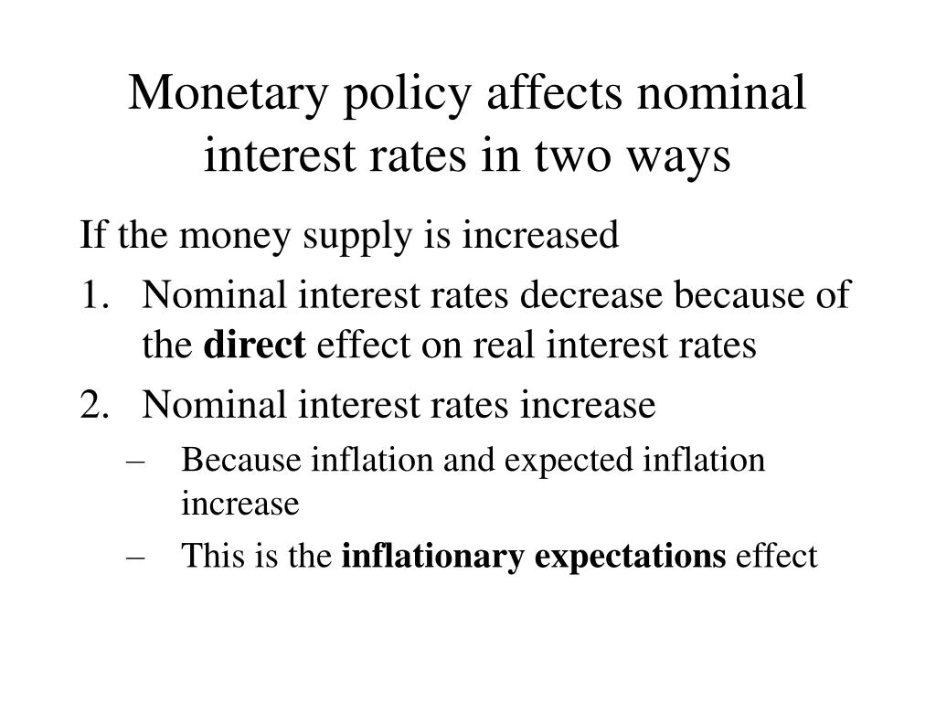 Monetary policy affects nominal interest rates in two ways