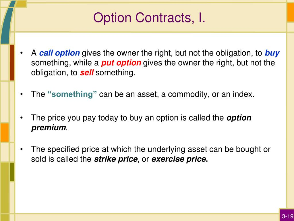 Option Contracts, I.